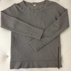 J. Crew Heather Gray Side Zipper Soft Sweatshirt